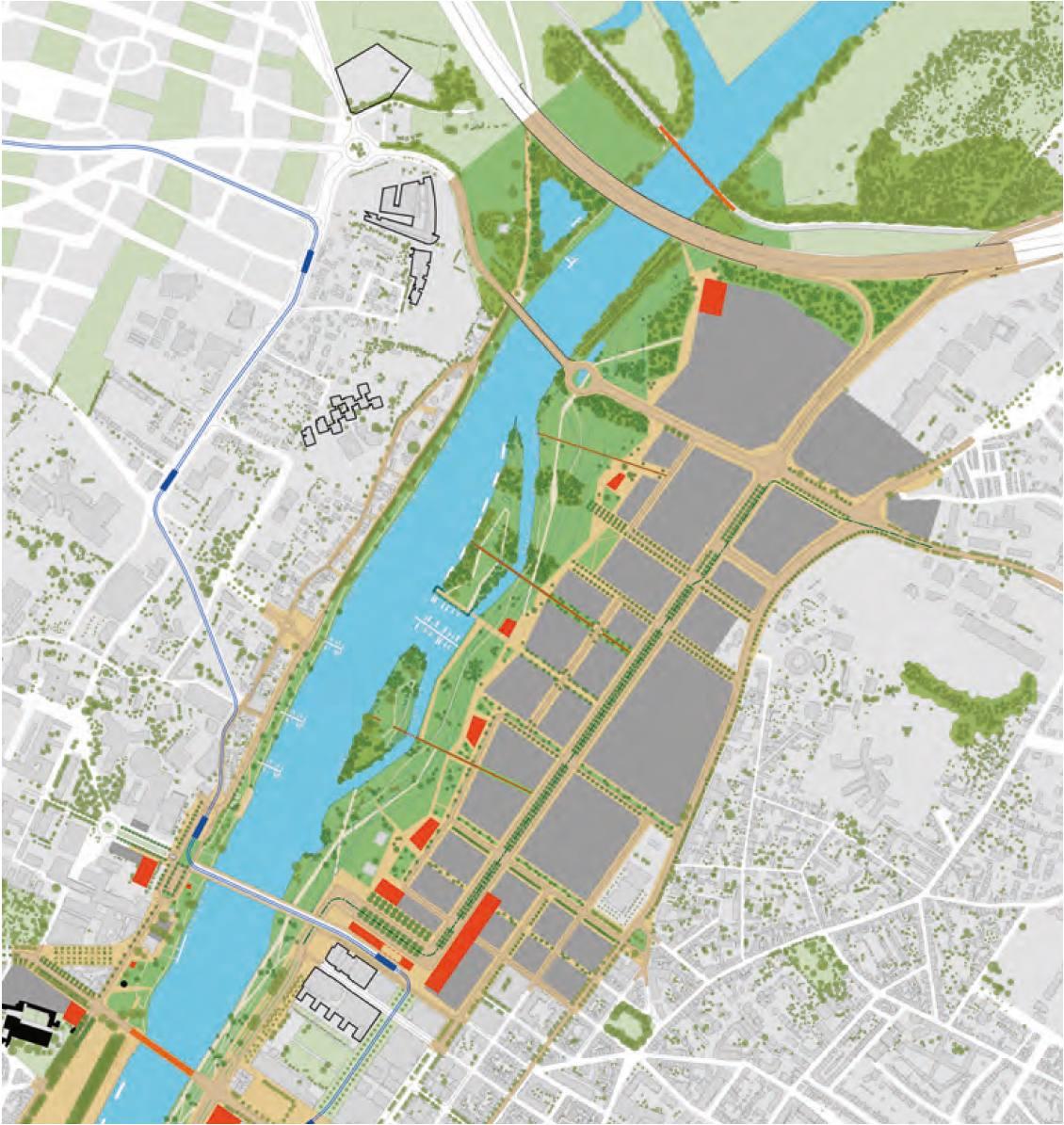 Angers Rives du Maine secteur Saint Serge plan guide Grether