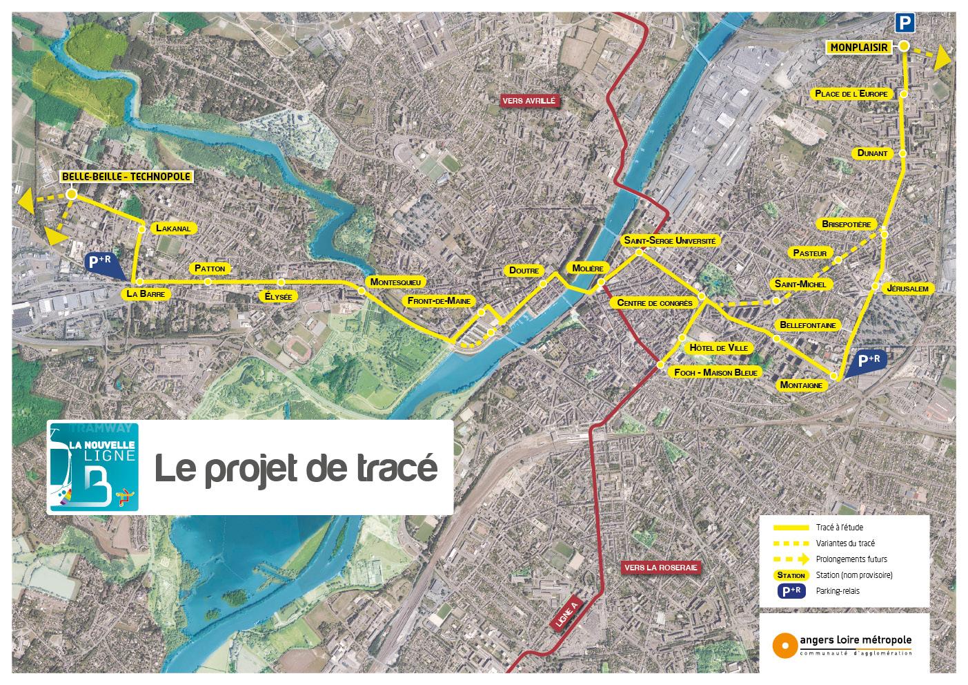 Angers Rives du Maine tramway ligne B nouveau projet 2014