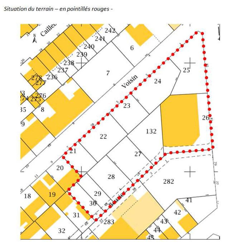 Asnières consultation Voisin Beurier 072016 carte périmètre sur cadastre