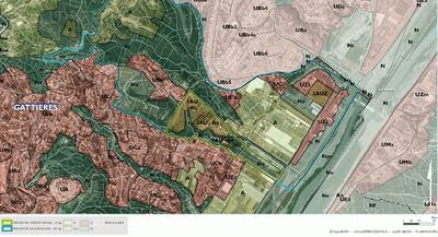 EPA Ecovallée Plaine du Var - Etude secteur Gattières - 2013: Périmètre de réflexion et périmètre d'étude sur fond droit des sols