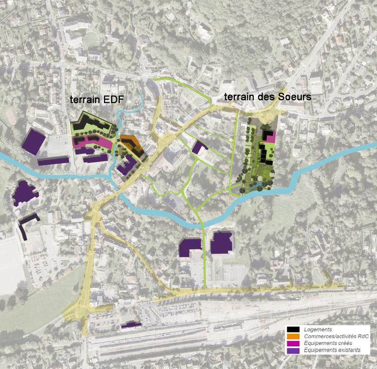 Saint-Rémy-lès-Chevreuse : plan centre-ville avec terrain EDF et terrain des Soeurs