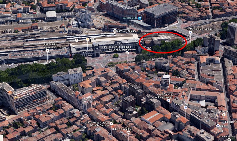 Toulouse îlot tripostal TESO SNCF localisation sur Google