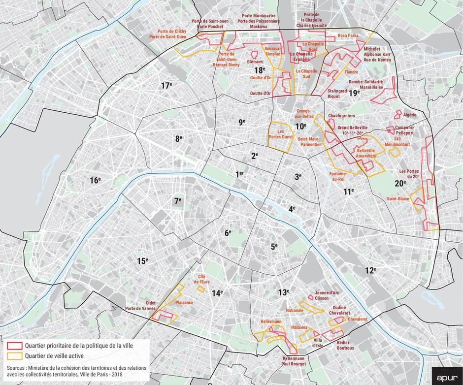 Paris QPV et quartiers Veille carte