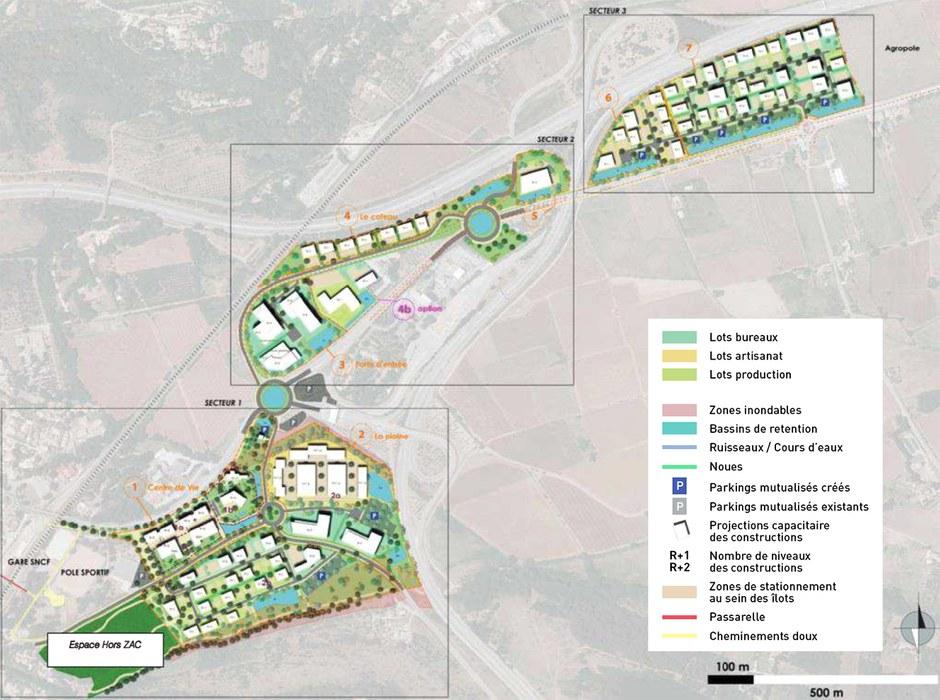 Varecopole 3 secteurs opérationnels plan masse